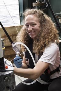 Erin on a recent research cruise. SOI / Mónika Naranjo González